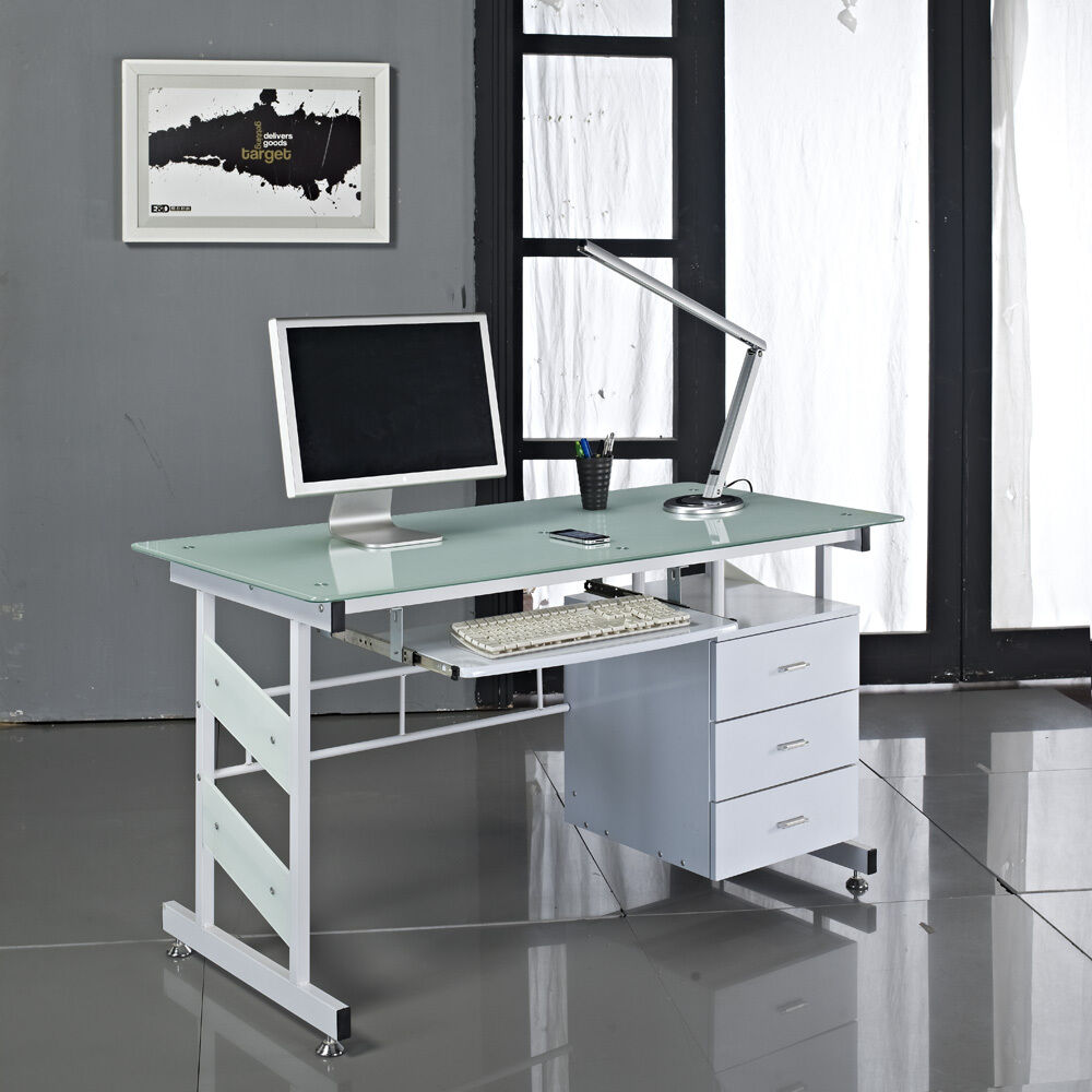 Glass Computer Desk With Drawers White Pc Home Office