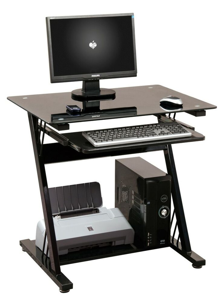 Computer Desk PC Table Home Office Furniture Black Glass Sliding