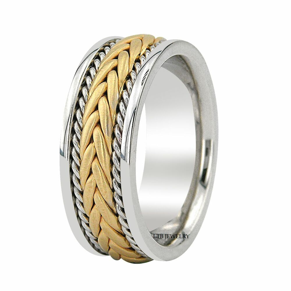 10k Two Tone Gold Braided Mens Wedding Band Handmade 8mm