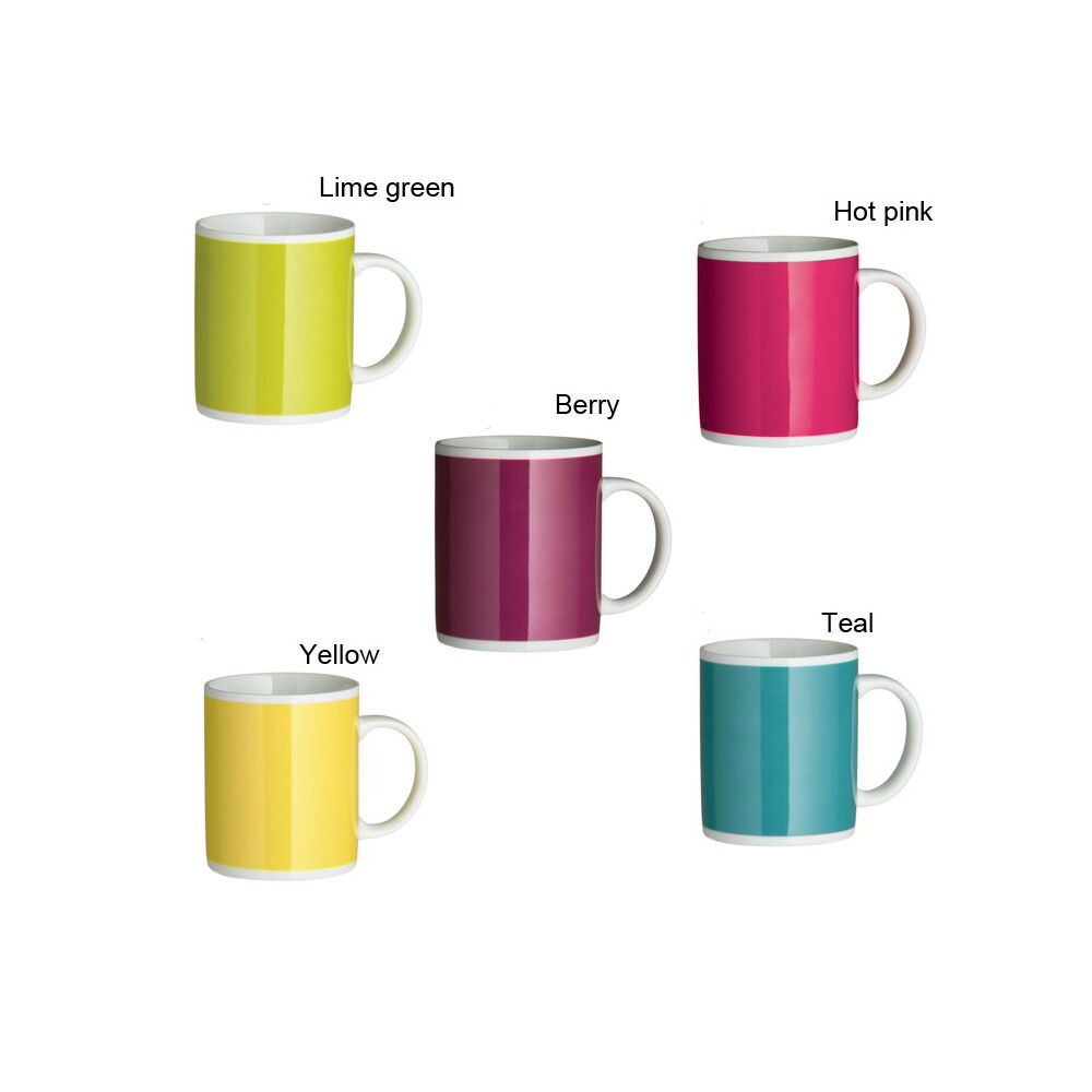Beautiful set of 4 coffee tea mugs cup choice of 5 funky colours ebay - Funky espresso cups ...