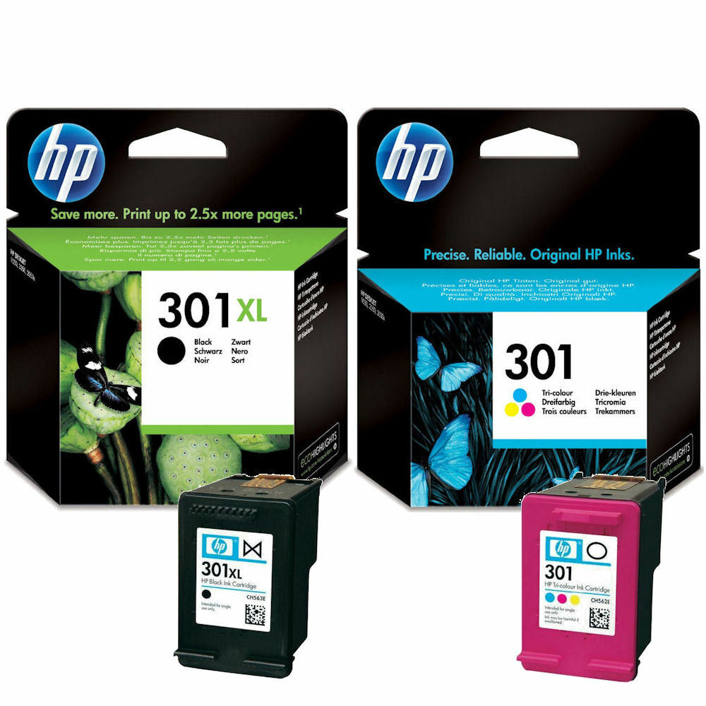 genuine original hp 301xl black 301 colour ink cartridges ch562ee ch563ee ebay. Black Bedroom Furniture Sets. Home Design Ideas