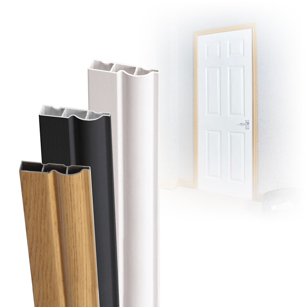 Upvc door architrave plastic casing white english oak for Door architrave