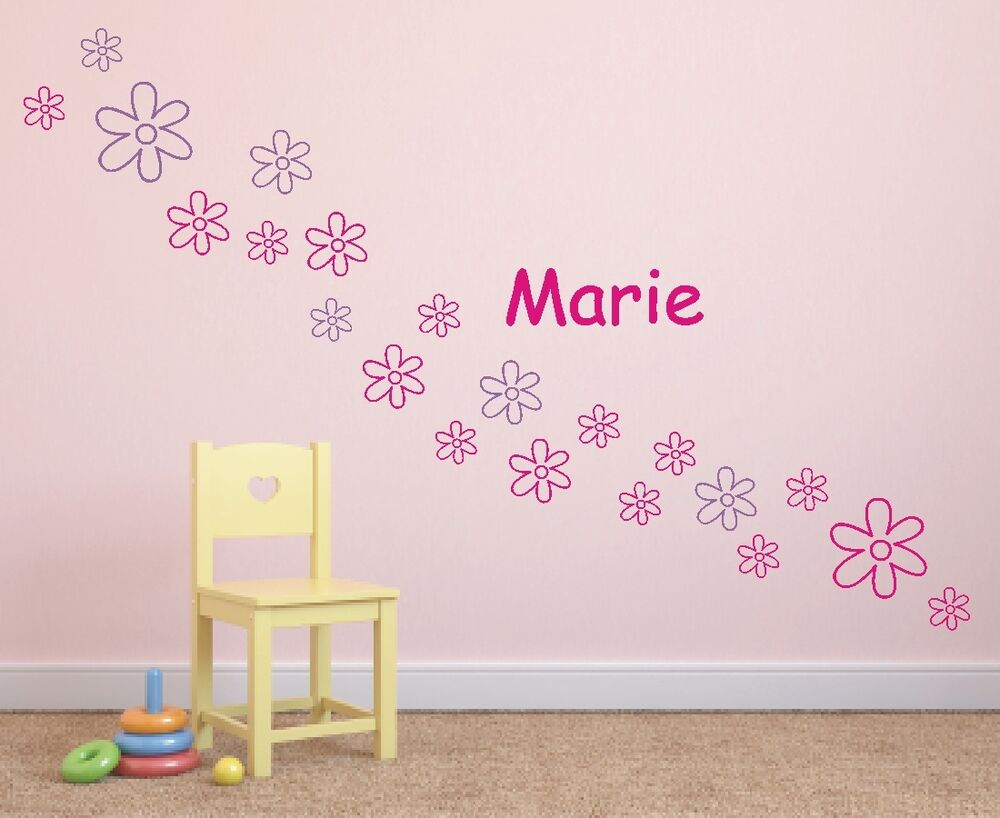 wandtattoo blumen name wunschname kinder kinderzimmer ebay. Black Bedroom Furniture Sets. Home Design Ideas
