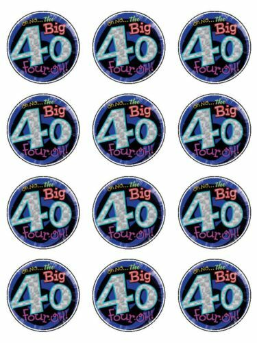 Big 40 40th Birthday Cake Edible Cupcake Toppers X 12 Ebay