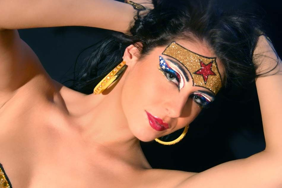 Xotic Eye Superhero Wonder Woman Makeup Costume Wonderous Eyes Glitter Crystals | EBay