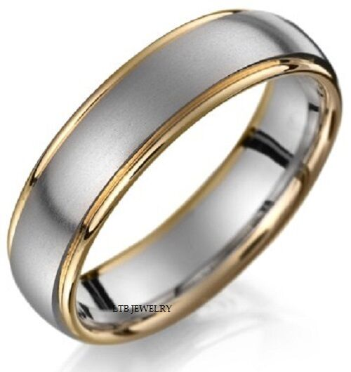 Two Tone Wedding Bands: 14K TWO TONE GOLD MENS WEDDING BANDS RINGS ,SATIN FINISH