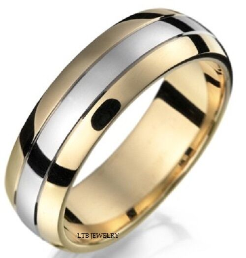 2 Tone Men Bands: 10K TWO TONE GOLD MENS WEDDING BAND RING 6.5MM