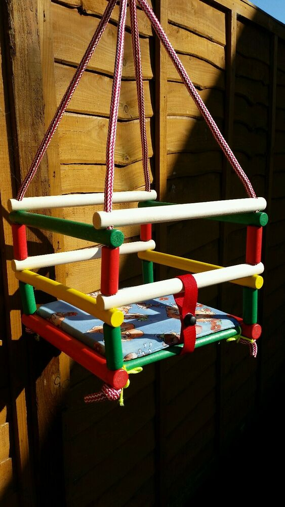 New Garden Indoor Wooden Baby Safety Swing With Cushion Ebay