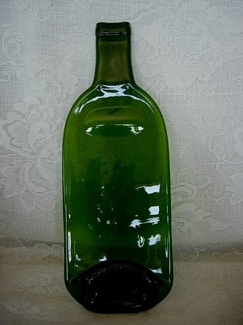 collectible large green glass flattened bottle plate ebay
