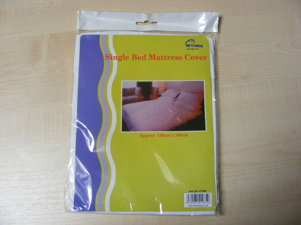 Single Plastic Fitted Mattress Cover Sheet Protector Ebay