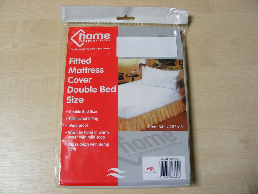 Double Plastic Fitted Mattress Cover Sheet Protector