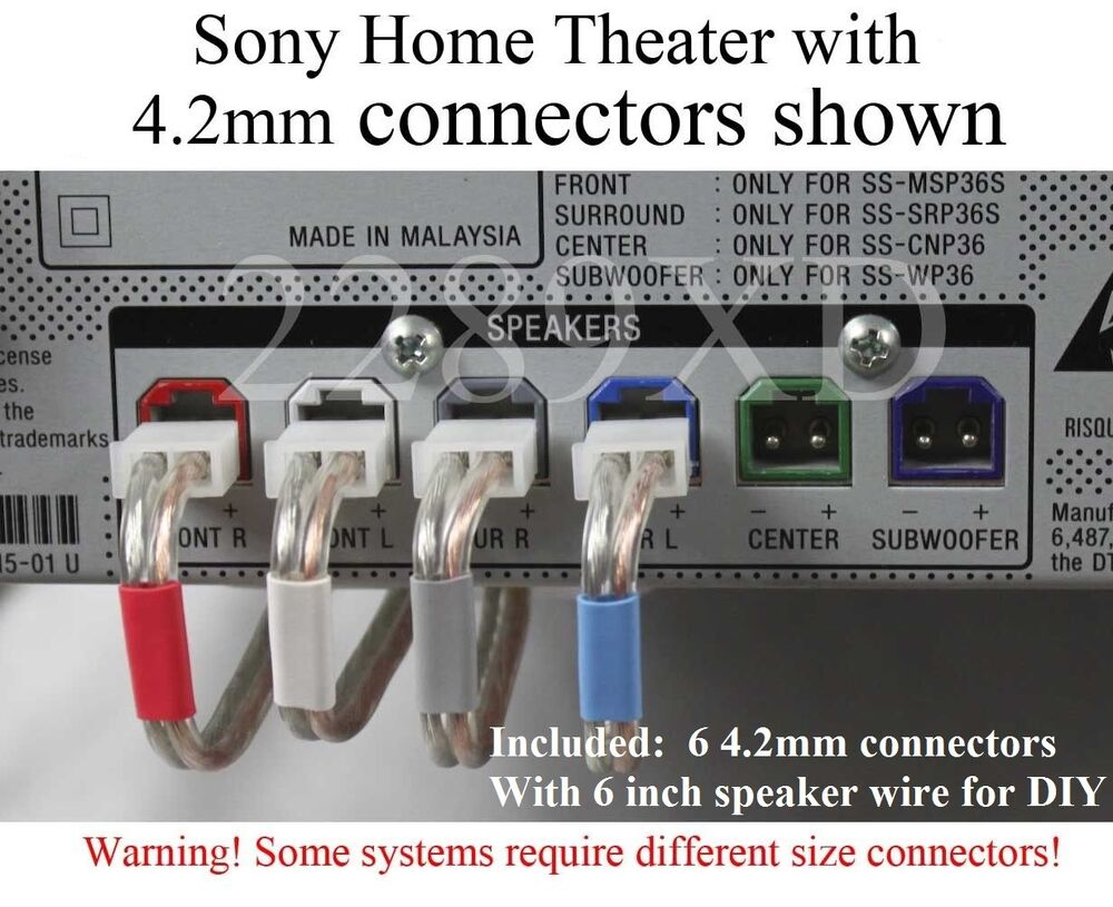 6c 42mm Speaker Cable Wire Plug Connectors Made For Select Sony Wiring A Home Theater System 713650522180 Ebay