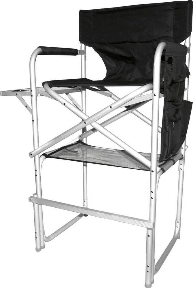folding tall director chair side table foot rest 1310 ebay. Black Bedroom Furniture Sets. Home Design Ideas