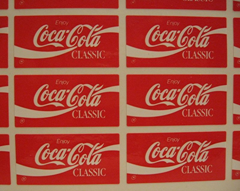 20 Coca Cola Classic Stickers Coca Cola Usa Adv Sheet Ebay