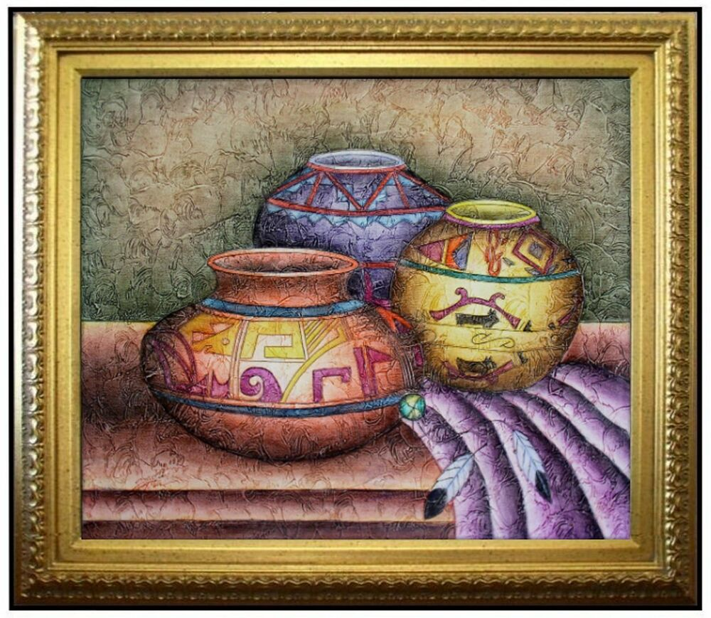 Framed hand painted oil painting still life w folk art for Hand painted portraits from photos