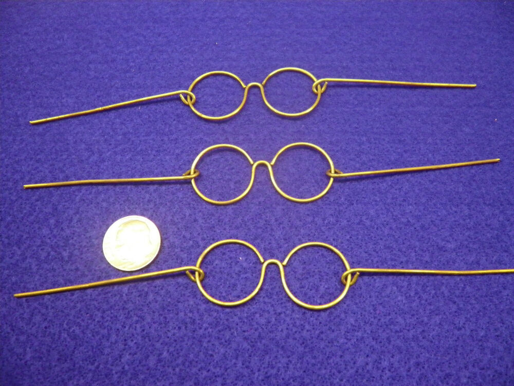 vintage santa wire frame gold eye glasses 3 pair made in