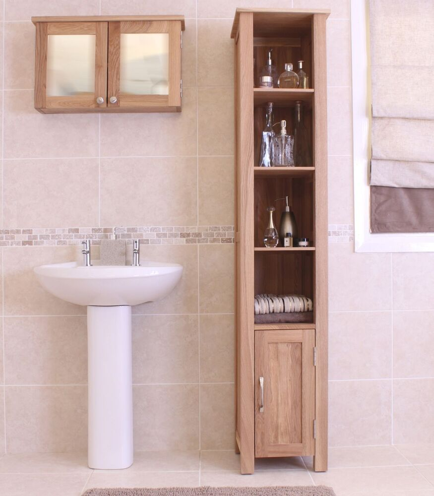 Mobel Solid Oak Furniture Tall Bathroom Storage Cabinet Ebay