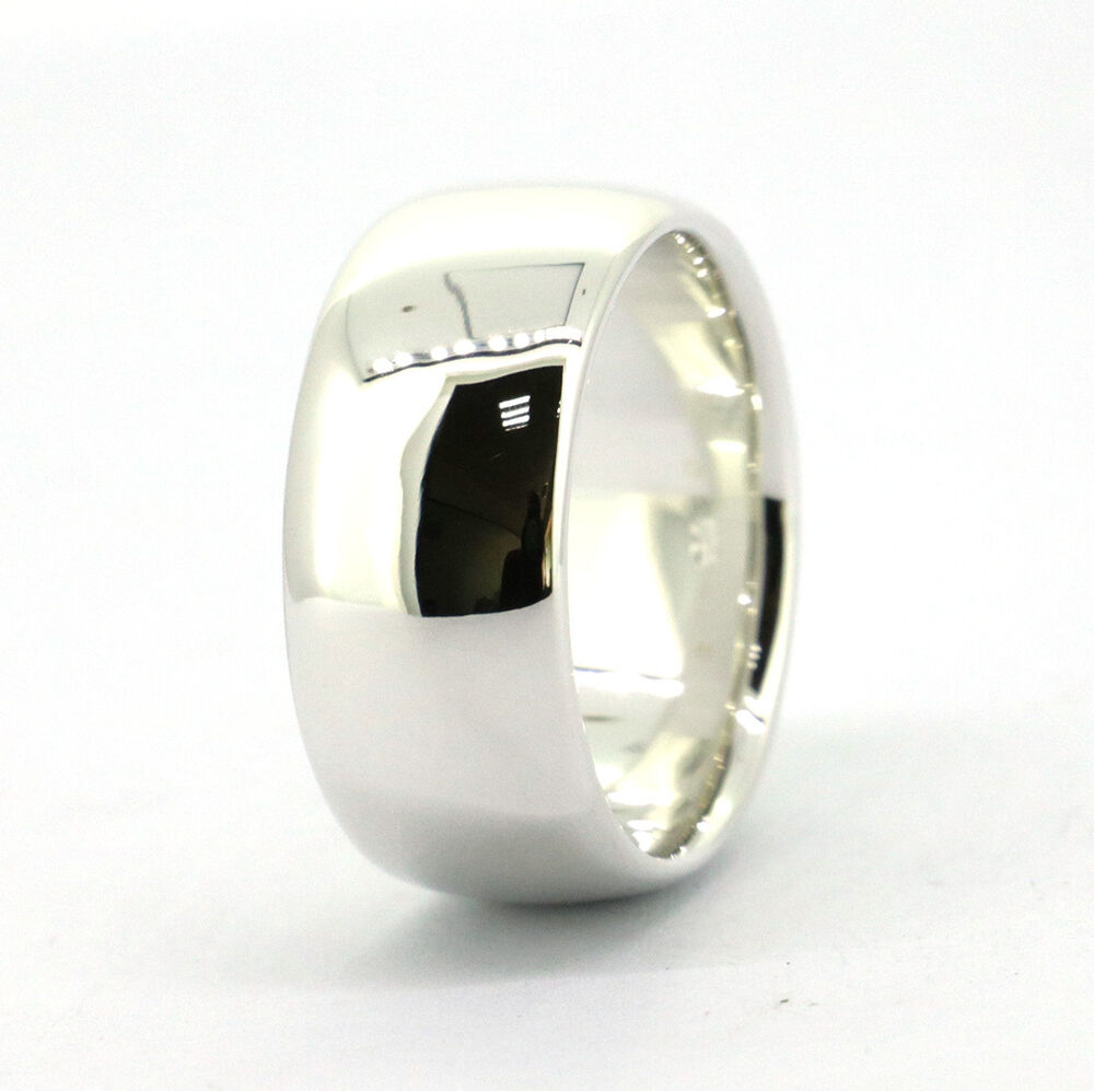 Wellmade 10mm Mens Solid 925Sterling Silver Plain Wedding