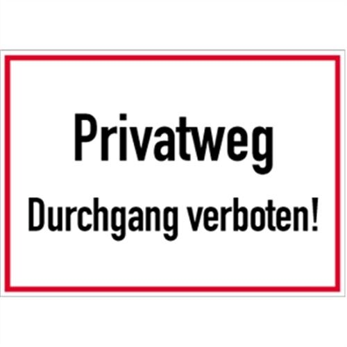 schild privatweg durchgang verboten 25 x 35cm alu ebay. Black Bedroom Furniture Sets. Home Design Ideas
