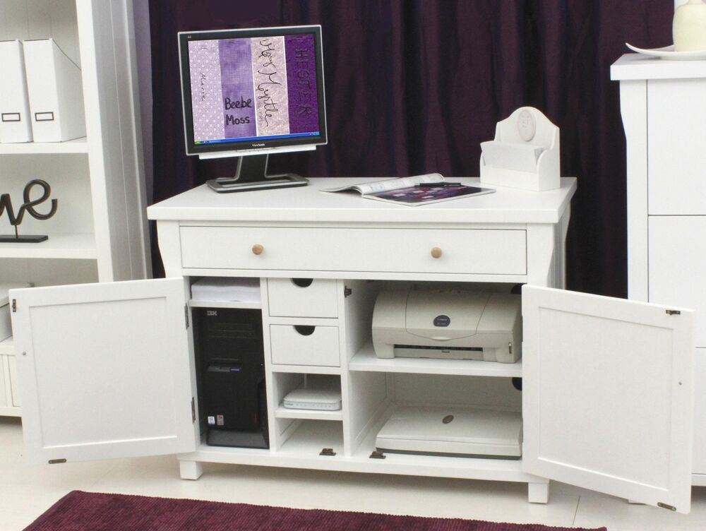 Hampton white painted furniture hidden home office