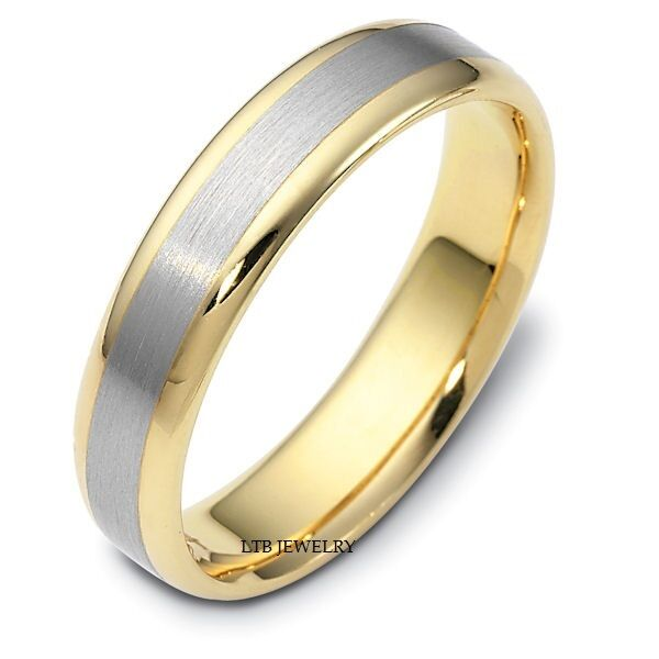 Two Tone Wedding Bands: MENS 10K TWO TONE GOLD WEDDING BANDS,SATIN FINISH WOMENS 5