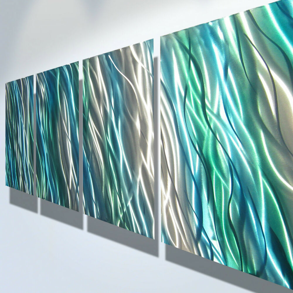 abstract metal wall art contemporary modern decor original amazon blue green ebay. Black Bedroom Furniture Sets. Home Design Ideas