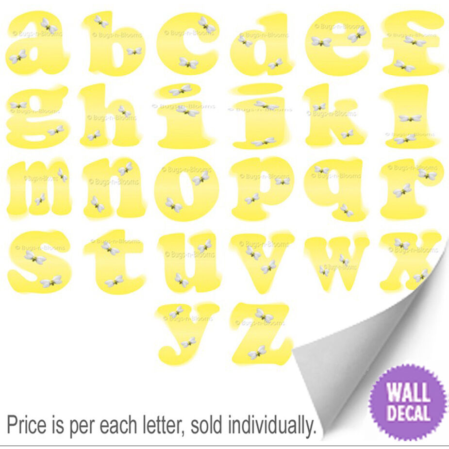 Name Wall Letters Alphabet Stickers Initial Decals Girls Decor ...