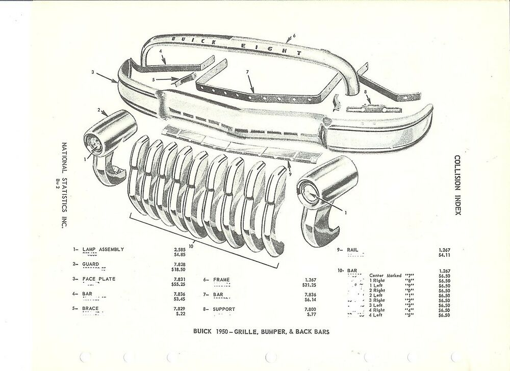1950 buick grille and front bumper nos parts guide