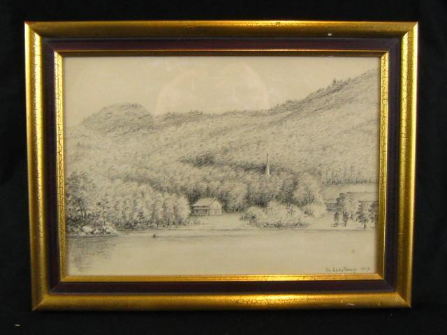 vintage cottage  u0026quot on lake george u0026quot  charcoal pencil drawing