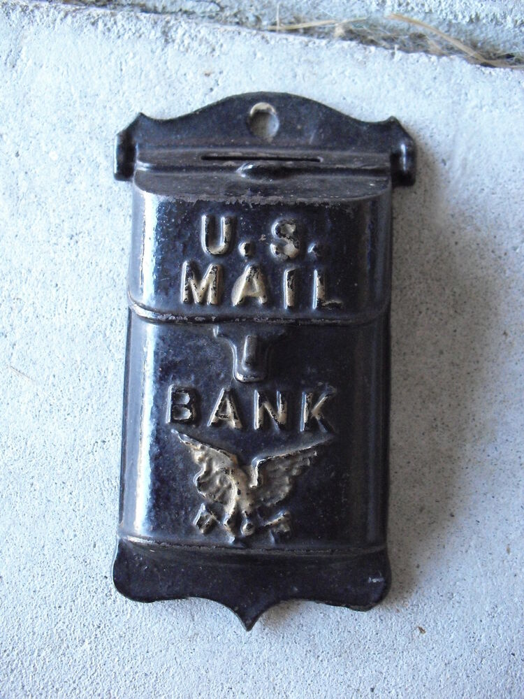 Antique Cast Iron Us Mail Wall Hanging Bank 5 1 8 Quot Tall