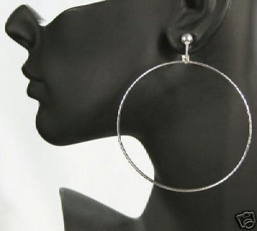 large clipon earrings big clip on silvertone hoops hoop earrings 3224