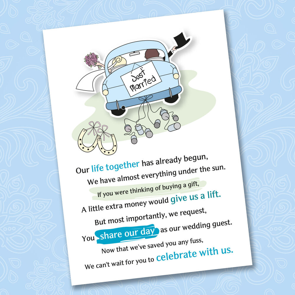 Wedding Guest Etiquette Gift Money : Wedding Poem Cards For Your Invitations - Ask Politely For Money Cash ...