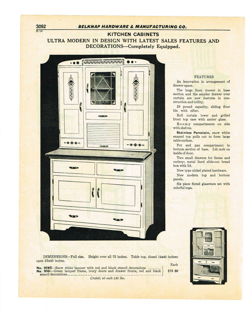 ULTRA MODERN HOOSIER TYPE KITCHEN CABINET Vintage Catalog Ad EBay