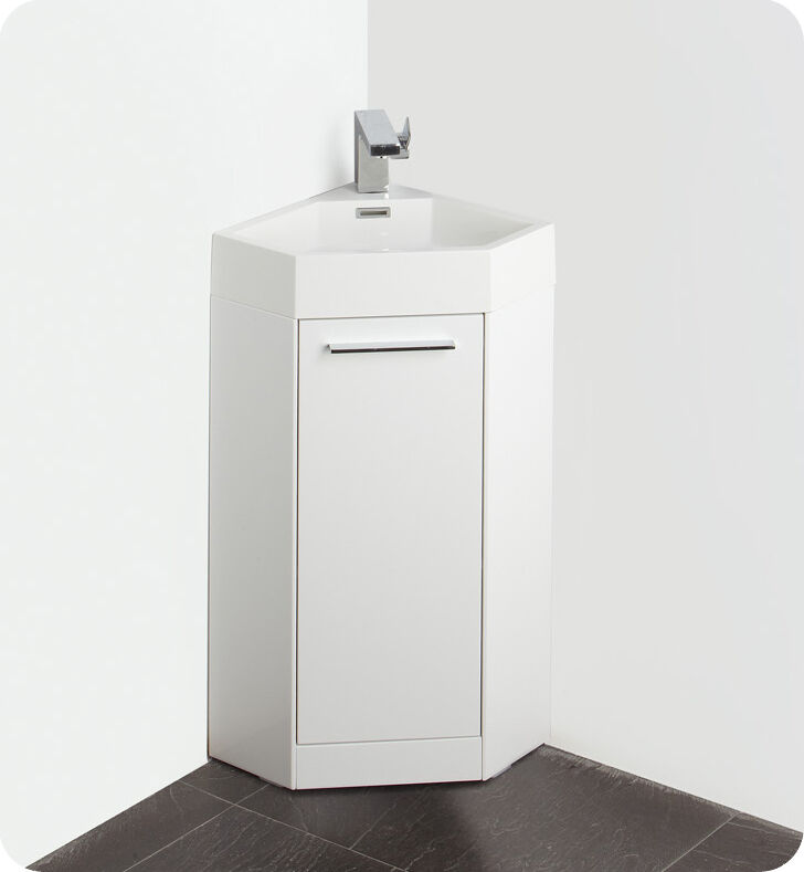 corner sinks for bathrooms with cabinets fresca fvn5082wh 14 quot white corner bathroom vanity cabinet 25216
