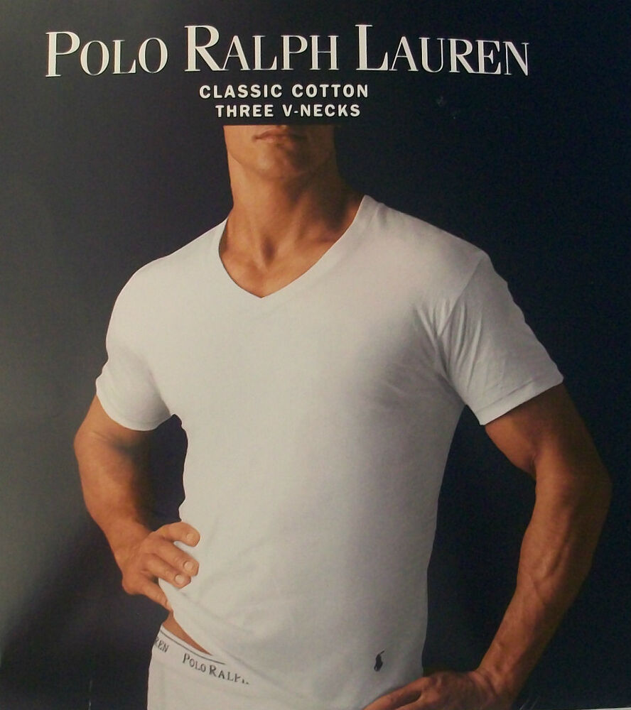3 polo ralph lauren mens cotton white v neck t shirts for Polo shirt with undershirt