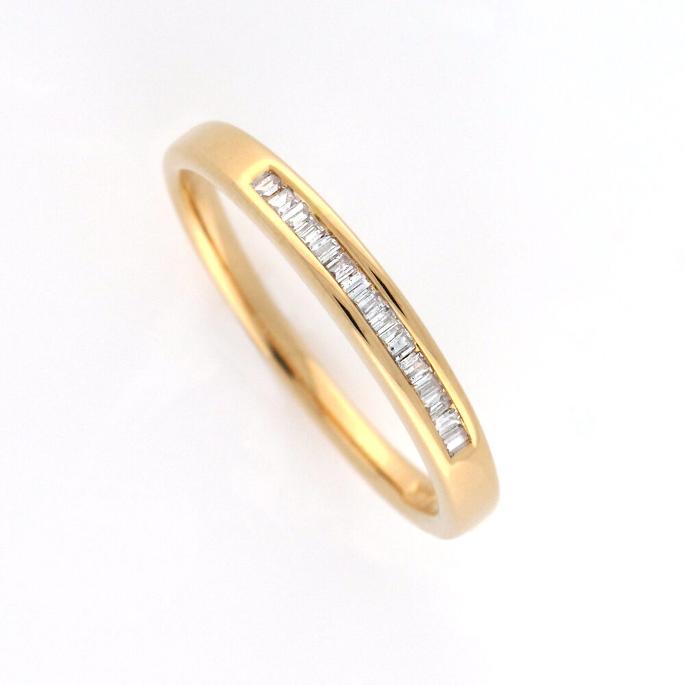 K womens yellow gold diamond anniversary ring in channel