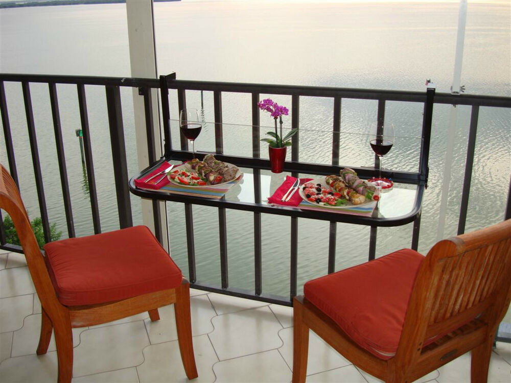 Terrace table folding balcony table patio table railing for Balcony terrace