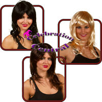 LONG STRAIGHT WIG WITH SWEPT FRINGE BROWN BLACK BLONDE FANCY DRESS