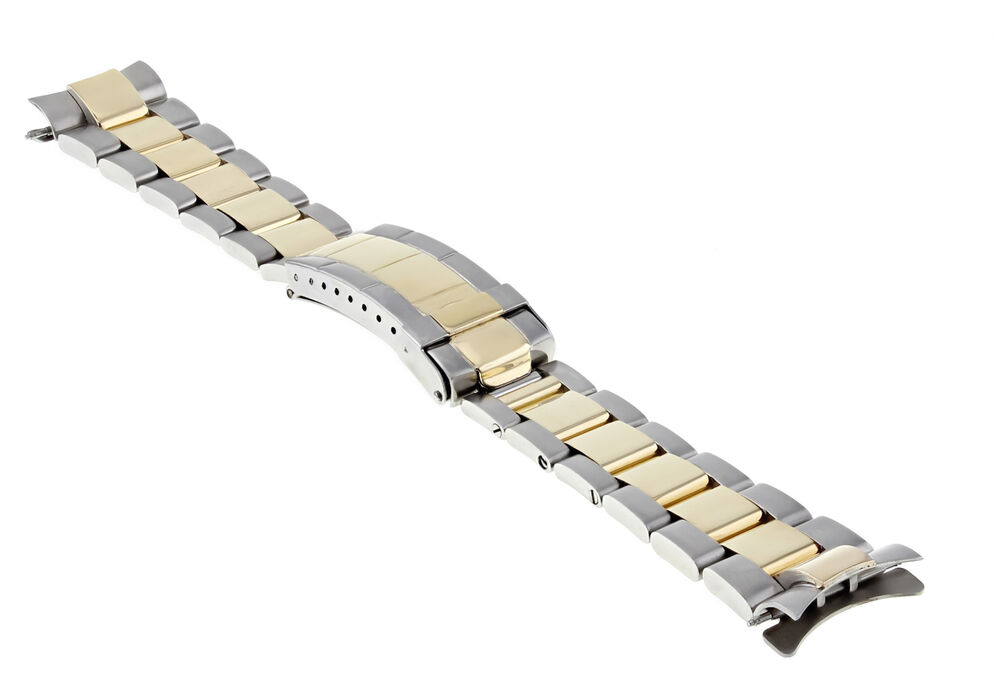 Mens 18k Ss Oyster Watch Band For Rolex Sub Gold Buckle Ebay