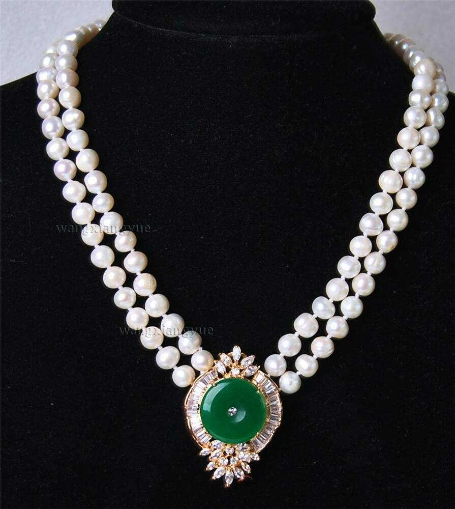White Pearl Pendant Necklace: Beautiful 2Rows White Pearl Green Jade Pendant Necklace