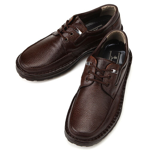 mens leather formal dress casual lace up sneakers brown