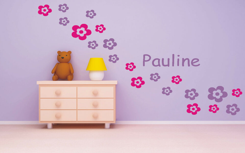 wandtattoo kind kinder kinderzimmer blume blumen mit namen wunschnamen ebay. Black Bedroom Furniture Sets. Home Design Ideas