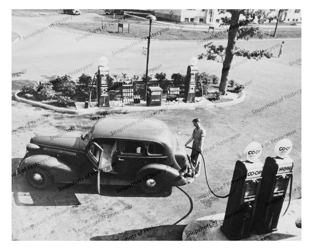 1930s Era Vintage Photo Co Op Gas Station Old Gas Pump Old Car Coca Cola 8x10 In Ebay
