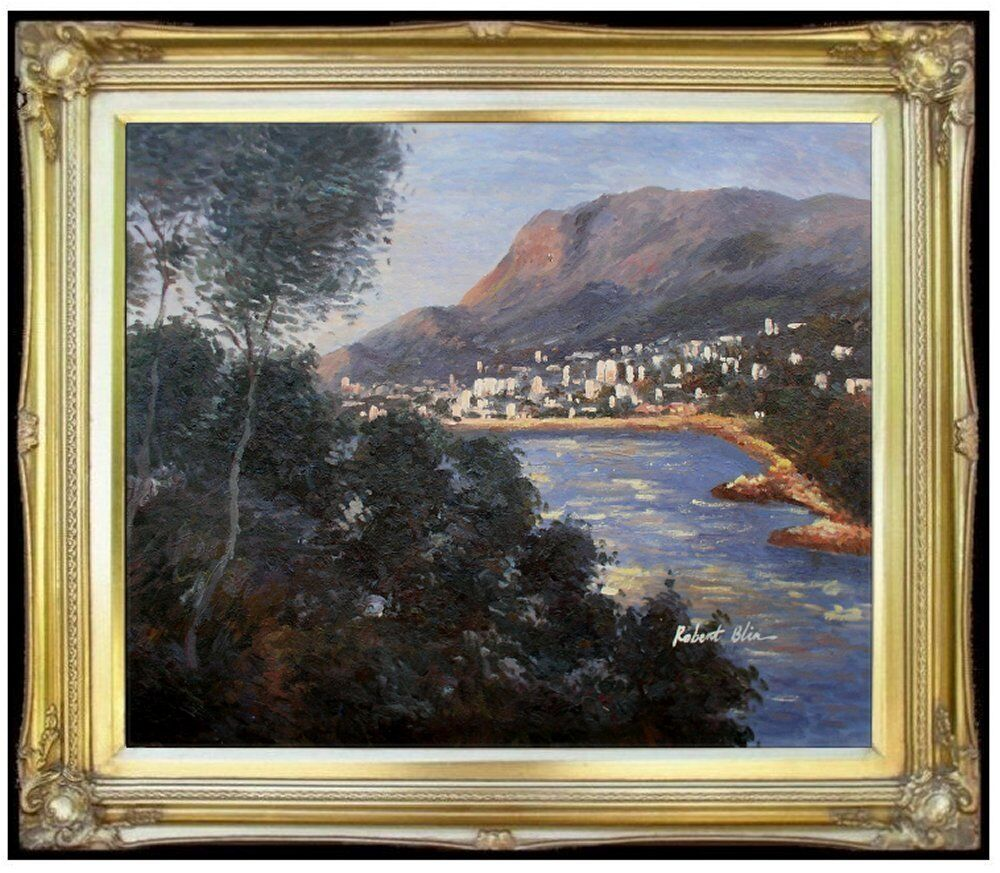 Framed claude monet monte carlo reproduction hand painted for Framed reproduction oil paintings