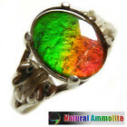 Ammolite Sterling Silver Ring Size 5