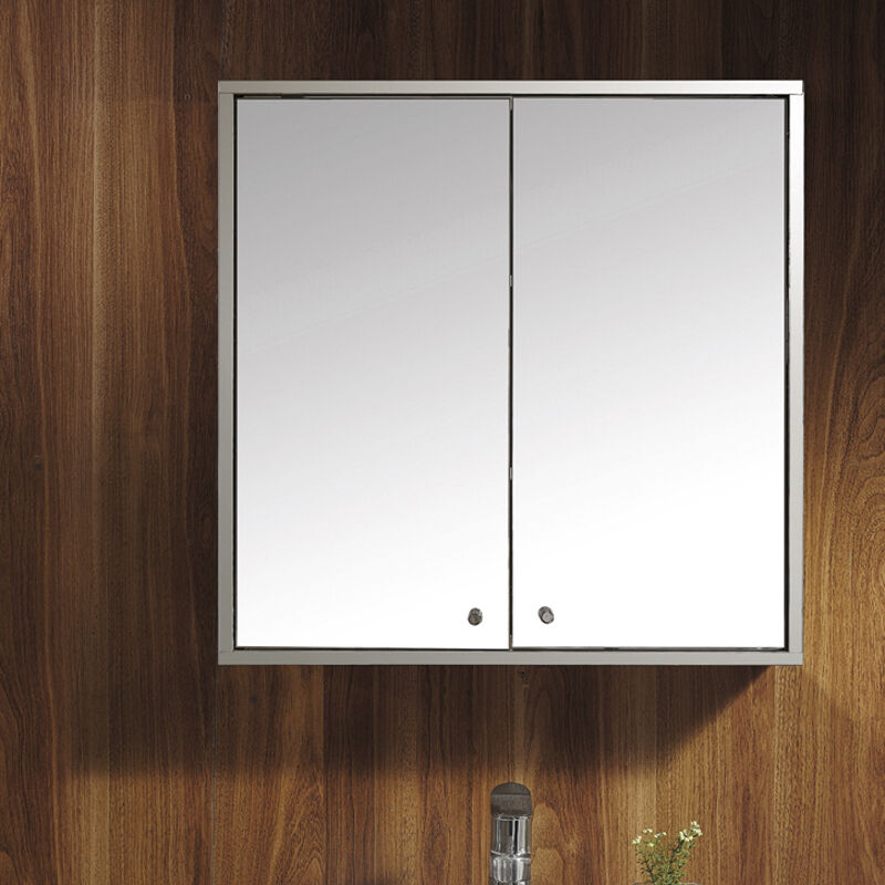 Wall mirror storage cupboard double door stainless steel bathroom cabinet ebay for Bathroom mirror cupboard