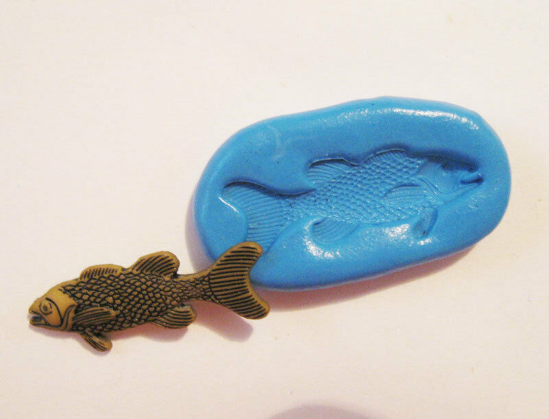 Fish flexible silicone push mold polymer clay resin for Silicone fish molds