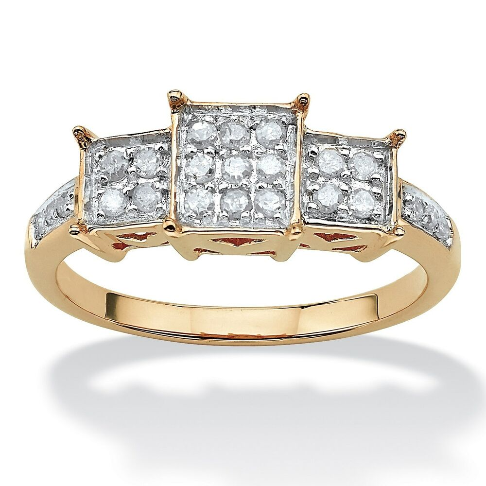 WOMENS 10K YELLOW GOLD DIAMOND PROMISE ENGAGEMENT RING ...