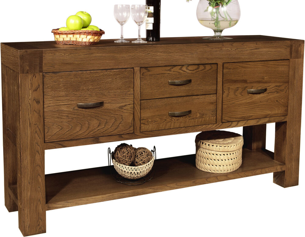 Sandringham solid dark oak furniture large console hall for Console hallway table furniture