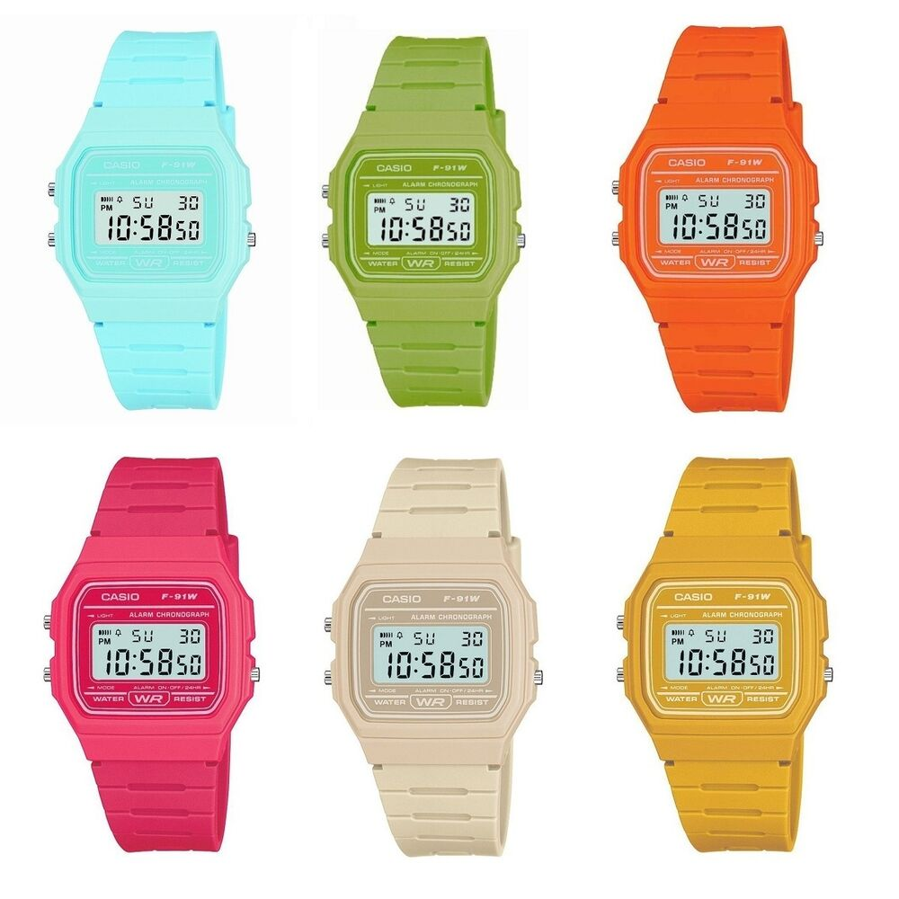 d2e41007162c Details about Casio Watch F-91WC Digital Chronograph Resin Strap for Ladies  Gents Girls   Boys